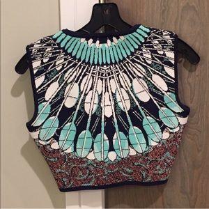 BCBGMaxAzria Tops - BCBG Mayim Batik Fans Crop Sweater